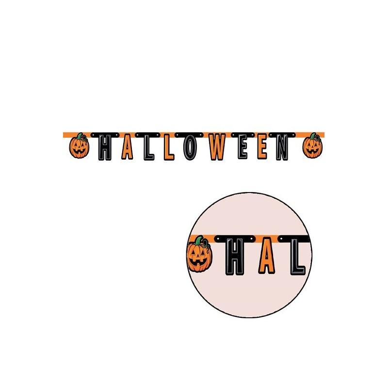 Baner Happy Halloween z dyniami pomarańczowo-czarny 180cm