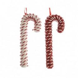 Zawieszka laska zakręcony sznurek biały/czerwony 3x8x20,5cm