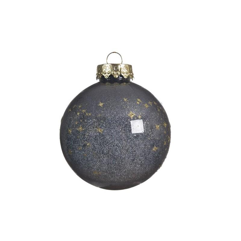 Bombka dekoracyjna czarna w złote gwiazdki 8cm