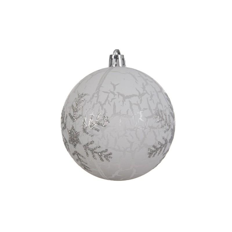 Bombka dekoracyjna przeźroczysta w płatki śniegu z brokatu 8cm