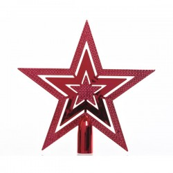 Gwiazda na choinkę czerwona z połyskiem 2,2x20x20cm