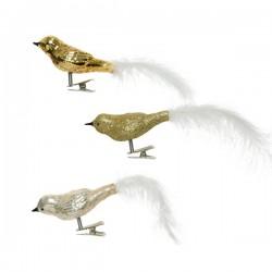 Ptaszek z piórkiem na klipsie 3x8x3,5cm