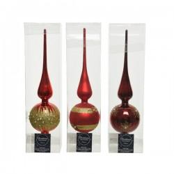 Szpic na choinkę dekorowany czerwony 8x31cm