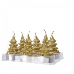 Świeca choinka złota 13,7x9,2x6,2cm 6szt