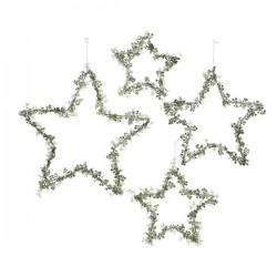 Zawieszka gwiazda metalowa z kwiatkami biało/ zielona 20x0,5cm