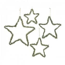 Zawieszka gwiazda metalowa z igliwiem zielono / złota 40x05cm