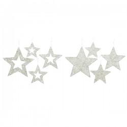 Zawieszka gwiazda metalowa biała z brokatem 30x05cm