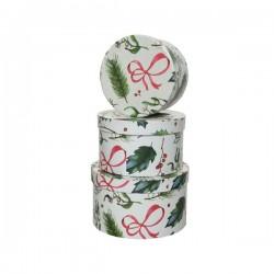 Pudełko ozdobne okrągłe świąteczne biało-zielone 17x17x10cm