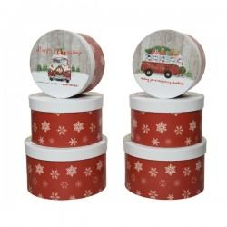 Pudełko ozdobne okrągłe świąteczne czerwone w białe śnieżynki 17x17x10cm