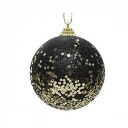 Bombka z pianki dekorowana w gwiazdki czarna 8cm