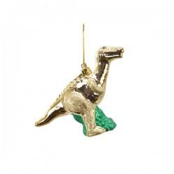 Dinozaur z zawieszką złoty 14,5x4x10cm