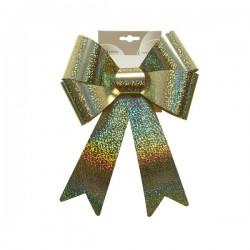 Kokarda plastikowa złota z połyskiem 22x32cm