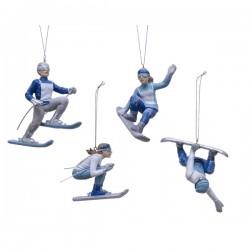 Zawieszka ceramiczna narciarz/snowbordzista biało-niebieska 12cm