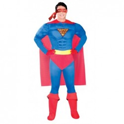 Strój dla dorosłych Super Bohater roz.M (kombinezon z peleryną, pasek)