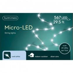 Lampki micro 567 led srebrny/zimny biały wew/zew 9m