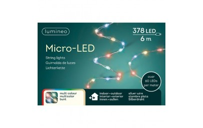 Lampki mcro 378 led srebrny/multi wew/zew 600 cm