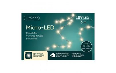 Lampki micro 189 led srebrny/ciepły biały wew/zew 300cm