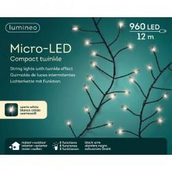 Lampki micro 960 led czarny/ciepły biały wew/zew 12m