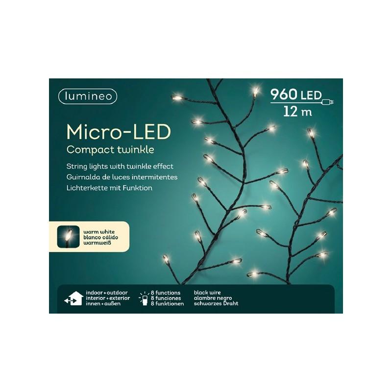 Lampki micro 960 led czarny/ciepły biały wew/zew 1200cm