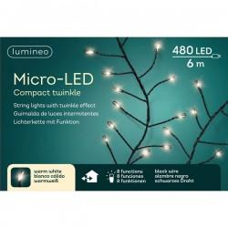 Lampki micro 480 led czarny/ciepły biały wew/zew 600cm