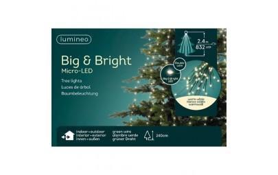 Lampki micro 832 led gruba wiązka zielony/ciepły biały wew/zew 240cm