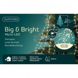 Lampki micro 672 led gruba wiązka srebrny/ciepły biały wew/zew 210cm