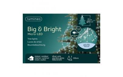 Lampki micro 672 led gruba wiązka srebrny/zimny biały wew/zew 210cm