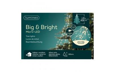 Lampki micro 408 led gruba wiązka srebrny/ciepły bialy wew/zew 180cm
