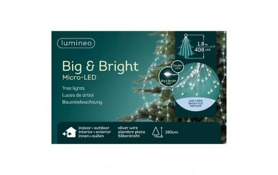 Lampki micro 408 led gruba wiązka srebrny/zimny biały 180cm