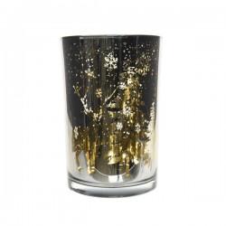 Świecznik szklany dekorowany 10x12,5cm