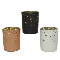 Świecznik szklany różowy/czarny/biały w gwiazdki 7x8,3cm