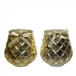 Świecznik szklany złoty z klejnotem 13x14cm