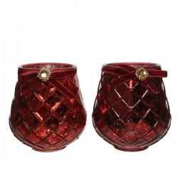 Świecznik szklany czerwony z klejnotem 13x14cm
