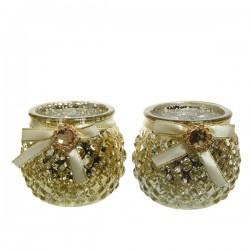 Świecznik szklany złoty z klejnotem 8,3x7cm