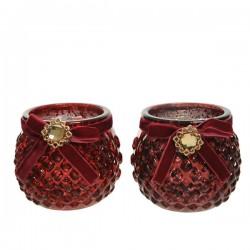 Świecznik szklany czerwony z klejnotem 8,3x7cm