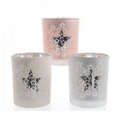 Świecznik szklany biały/różowy/srebrny w gwiazdki 7x8,3cm