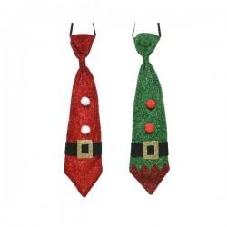 Krawat na Boże Narodzenie czerwony/zielony 9,5x39cm mix