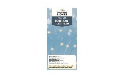 Lampki mikro 100 led wewnętrzne ciepły biały 495cm
