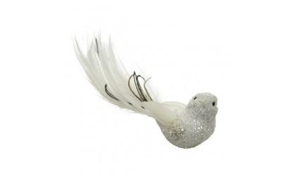 Ptaszek na klipsie biały z...