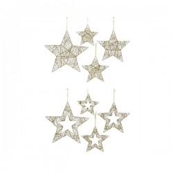 Zawieszka gwiazda metalowa złoty szampan 30x05cm
