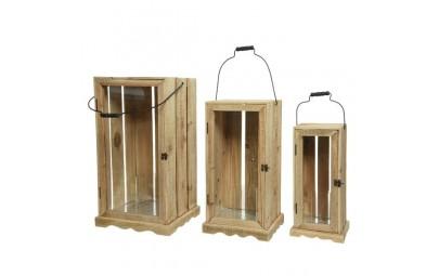 Lampion drewniany 34x30x61cm