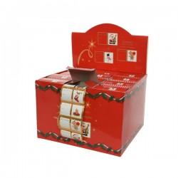 Naklejki papierowe biało-złote w rolce na prezenty 5x6x3,5cm 60szt