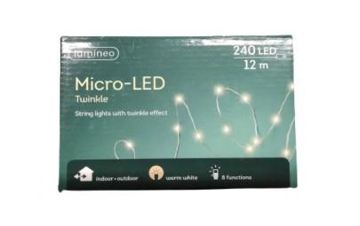 Lampki micro migające 240 led zew/wew ciepły biały12m