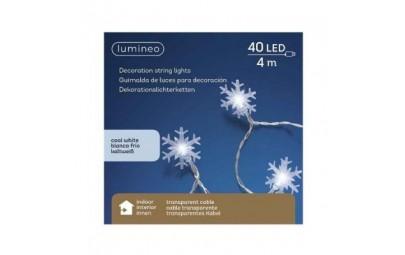 Lampki 40 led śnieżynki transparent/białe 4m
