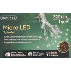 Lampki micro migające 320 led zew/wew ciepły biały 1m