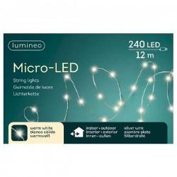 Lampki micro 240 led zew/wew ciepły biały 12m