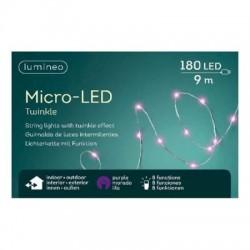 Lampki micro migające 180 led zew/wew różowe 9m