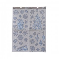 Dekoracja na okno świąteczna niebiesko srebrna 42x29cm