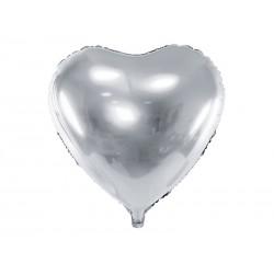 Balon foliowy 24 serce srebrne