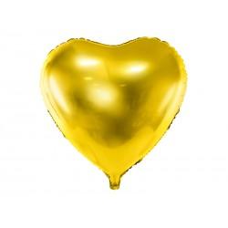 Balon foliowy 18 serce złote